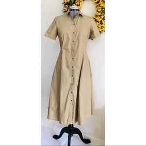 OTTOD'AME Cotton Button Shirt Midi Dress Khaki